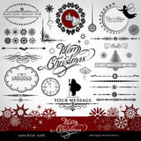 Christmas and New Year decorative  set. Silhouettes of Santa Claus and fairy, calligraphic elements, vintage and retro ornaments, banners, text, dividers with Royalty Free Stock Image