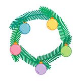 Christmas and New Year decorative wreath with colorful balls, christmas tree frame, linear art , naive vector illustration. Christmas and New Year decorative royalty free illustration