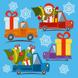 Christmas and New Year delivery vans Stock Photo