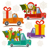 Christmas and New Year delivery vans Royalty Free Stock Photo