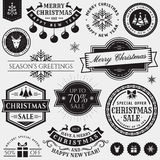 Christmas and New Year design elements. Christmas and New Year decorative elements isolated on white background. Set of typography badges for greeting cards royalty free illustration