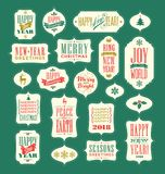 Vintage Christmas and New Year typography designs Stock Photography