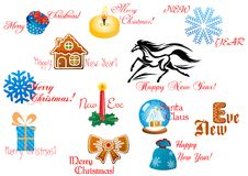 Christmas and New Year design elements Stock Image