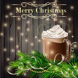Christmas  New Year design with hot chocolate grey Stock Images