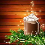 Christmas  New Year design with hot chocolate Royalty Free Stock Photography