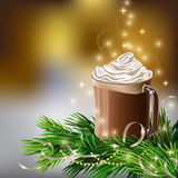 Christmas  New Year design with hot chocolate Royalty Free Stock Image