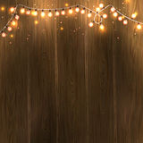 Christmas New Year design: wooden background with christmas lights garland. Vector illustration, eps10. Christmas New Year design: wooden background with Stock Photography