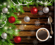 Christmas New Year design wooden background Stock Photography