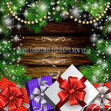 Christmas New Year design wooden background. With christmas garland gift boxes and snow. Vector illustration, Cristmas tree Royalty Free Stock Photos