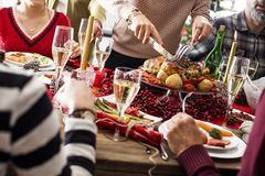 Christmas new year dinner group concept royalty free stock image