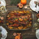Christmas new year dinner group concept Flat-lay stock images