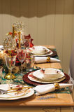 Christmas or new year dinner table decoration Stock Image