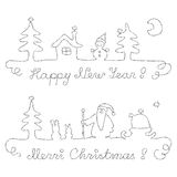 Christmas and New Year - dividing lines Stock Image