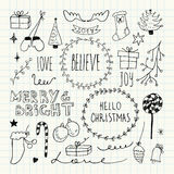 Christmas and New Year doodles collection Stock Photo