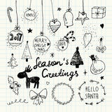 Christmas and New Year doodles collection Stock Images
