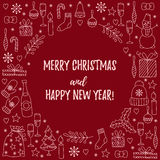 Christmas new year doodles greeting card decoration Stock Image