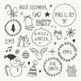 Christmas and New Year Doodles set Stock Photos