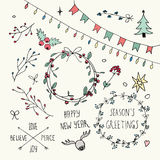 Christmas and New Year Doodles set Royalty Free Stock Image
