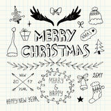 Christmas and New Year Doodles set Royalty Free Stock Photography