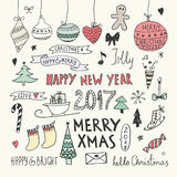Christmas and New Year Doodles set Stock Photo