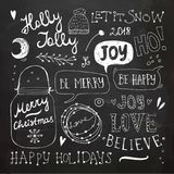 Christmas and New Year Doodles set stock illustration