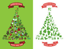 Christmas,new year doodles in spurce tree  shape Stock Photos