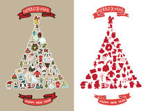Christmas,new year doodles in spurce tree  shape Royalty Free Stock Images