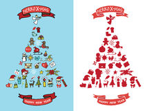 Christmas,new year doodles in spurce tree  shape Stock Photo