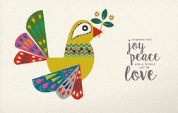 Christmas and New Year dove bird folk art card. Merry Christmas and Happy New Year folk art greeting card illustration. Colorful dove bird made of traditional stock illustration