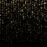 Christmas and New Year effect. Glitter threads of curtain backdrop on black. Sparkling of shimmering light blurs. Gold. Particles lines rain. Fashion strass vector illustration