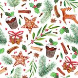 The christmas, new year elements set, hand-drawn watercolor seamless pattern, isolated on white Royalty Free Stock Photos
