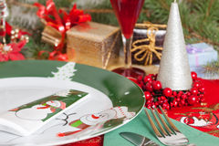 Christmas and New Year Eve table Stock Photos