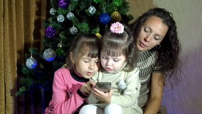 Christmas, New Year, family, phone stock footage