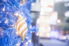 Christmas and new year festival with golden bokeh as background royalty free stock photo