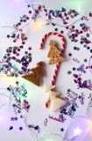 Christmas or New year festive background. Greeting card composition with striped candy, glitters and fir trees made of bread. Holi. Days concept royalty free stock photography