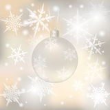 Christmas, New Year festive background for greeting cards. Silver ball with senezhinkami illustrations. Christmas, New Year festive background for greeting cards Stock Photos