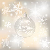 Christmas, New Year festive background for greeting cards. Silver ball with a wish of Merry Christmas illustrations. Christmas, New Year festive background for Stock Images