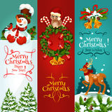 Christmas and New Year festive banner set. Merry Christmas festive banner set. Holly berry wreath with candy, bell, ball and owl in santas hat, snowman with Royalty Free Stock Images