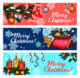 Christmas and New Year festive banner set. Christmas festive banner set. Santa gift bag with present box, candy cane, gingerbread man, snowflake, pine tree Royalty Free Stock Photo