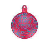 Christmas, New Year festive blue lettering on a red ball. Wishing a Happy New Year. Christmas tree toy illustration. Christmas, New Year festive blue lettering Stock Images
