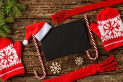 Christmas or new year festive card. Top view, Flat lay. Christmas or new year festive card. Winter holidays concept. Christmas Composition with Gifts with free royalty free stock photography