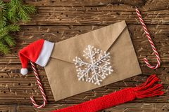 Christmas or new year festive card. Top View. Christmas or new year festive card. Winter holidays concept. Christmas Composition with Gifts with free text space royalty free stock image