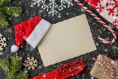 Christmas or new year festive card. Top View. Christmas or new year festive card. Winter holidays concept. Christmas Composition with Gifts with free text space royalty free stock photography
