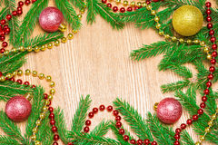 Christmas and New Year festive frame background Stock Photos