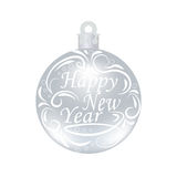 Christmas, New Year festive inscription on a silver ball beautiful. Wishing a Happy New Year. Christmas tree toy Royalty Free Stock Image