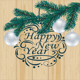 Christmas, New Year festive labels for postcards. Fir tree branch on a background of natural boards. Wishing a Happy New. Christmas, New Year festive labels for Royalty Free Stock Photography