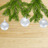 Christmas, New Year festive labels for postcards. Fir tree branches with balls on a background of natural boards. Vector illustration Stock Images