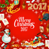 Christmas and New Year festive poster design Stock Photo