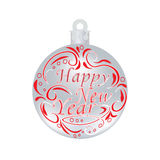 Christmas, New Year festive red inscription on a silver ball. Wishing a Happy New Year. Christmas tree toy illustrations Stock Image