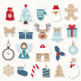 Christmas and new year festive stickers set. Gold and blue colors. Santa Claus, angel, deer, house, snowman. Christmas and new year festive stickers set. Gold Royalty Free Stock Images
